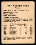 1941 Harry Hartman #26  Johnny Vander Meer  Back Thumbnail