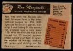 1955 Bowman #287  Ron Mrozinski  Back Thumbnail