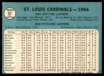1965 Topps #57   Cardinals Team Back Thumbnail
