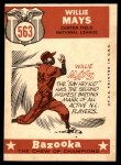 1959 Topps #563   -  Willie Mays All-Star Back Thumbnail