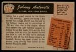 1955 Bowman #124  Johnny Antonelli  Back Thumbnail