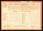 1964 Topps #136   -  Sandy Koufax 1963 World Series - Game #1 - Koufax Strikes Out 15  Back Thumbnail