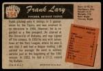 1955 Bowman #154  Frank Lary  Back Thumbnail