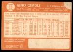 1964 Topps #26  Gino Cimoli  Back Thumbnail