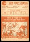 1963 Topps #123  John Henry Johnson  Back Thumbnail