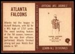1967 Philadelphia #1   Atlanta Falcons Team Back Thumbnail