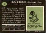 1969 Topps #12  Jack Pardee  Back Thumbnail