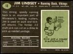 1969 Topps #13  Jim Lindsey  Back Thumbnail