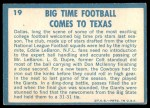 1961 Topps #19   -  Eddie LeBaron 1960 Football Highlights Back Thumbnail