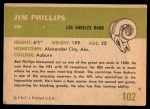 1961 Fleer #102  Jim Phillips  Back Thumbnail