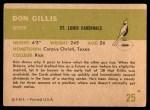 1961 Fleer #25  Don Gillis  Back Thumbnail