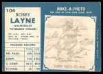 1961 Topps #104  Bobby Layne  Back Thumbnail