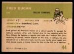 1961 Fleer #44  Fred Dugan  Back Thumbnail