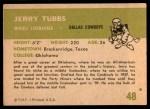 1961 Fleer #48  Jerry Tubbs  Back Thumbnail