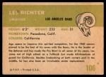1961 Fleer #106  Les Richter  Back Thumbnail