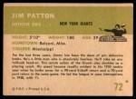 1961 Fleer #72  Jim Patton  Back Thumbnail