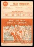 1963 Topps #98  Fran Tarkenton  Back Thumbnail