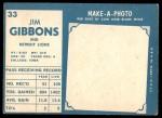 1961 Topps #33  Jim Gibbons  Back Thumbnail