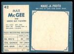 1961 Topps #42  Max McGee  Back Thumbnail