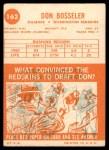 1963 Topps #162  Don Bosseler  Back Thumbnail