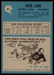 1964 Philadelphia #61  Dick Lane  Back Thumbnail