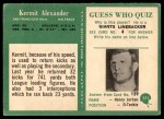 1966 Philadelphia #171  Kermit Alexander  Back Thumbnail