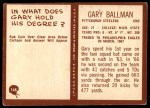1967 Philadelphia #148  Gary Ballman  Back Thumbnail