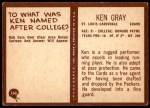 1967 Philadelphia #160  Ken Gray  Back Thumbnail