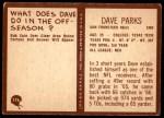 1967 Philadelphia #176  Dave Parks  Back Thumbnail