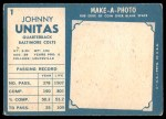 1961 Topps #1  Johnny Unitas  Back Thumbnail