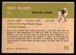 1961 Fleer #93  Max McGee  Back Thumbnail