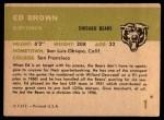 1961 Fleer #1  Ed Brown  Back Thumbnail