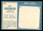 1961 Topps #16  Bill George  Back Thumbnail