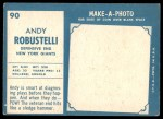 1961 Topps #90  Andy Robustelli  Back Thumbnail