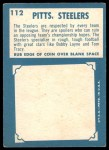 1961 Topps #112   Steelers Team Back Thumbnail