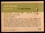 1961 Fleer #28  Leo Sugar  Back Thumbnail