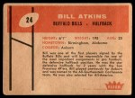 1960 Fleer #24  Bill Atkins  Back Thumbnail