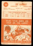 1963 Topps #35  Joe Schmidt  Back Thumbnail