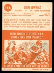 1963 Topps #156  Don Owens  Back Thumbnail