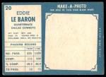 1961 Topps #20  Eddie LeBaron  Back Thumbnail