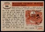 1956 Topps #99  Bill McPeak  Back Thumbnail