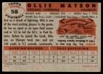 1956 Topps #58  Ollie Matson  Back Thumbnail