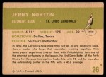 1961 Fleer #26  Jerry Norton  Back Thumbnail