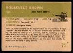 1961 Fleer #71  Roosevelt Brown  Back Thumbnail