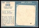 1961 Topps #181  Bob Dee  Back Thumbnail