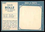 1961 Topps #197  Dave Rolle  Back Thumbnail