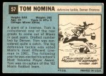 1964 Topps #57  Tom Nomina  Back Thumbnail