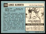 1964 Topps #155  Lance Alworth  Back Thumbnail