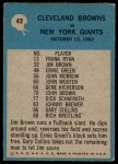1964 Philadelphia #42   -  Blanton Collier  Browns Play of the Year Back Thumbnail