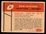 1960 Fleer #67  Sam McCord  Back Thumbnail
